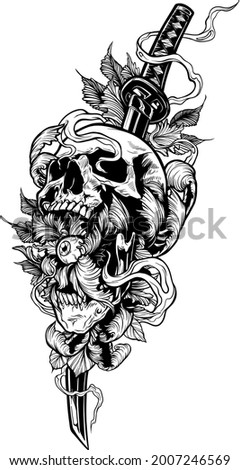 Detailed graphic cool realistic black and white human skull with leaves, eye and katana sword. Vector isolated on white background.