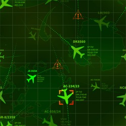 Detailed green military radar with planes traces and targets seamless pattern