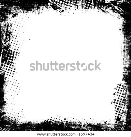 Detailed grunge border - vector