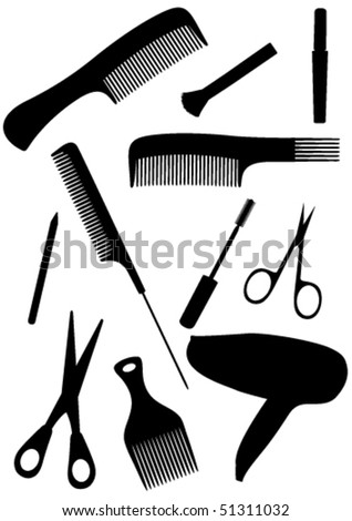 Detailed hair style objects isolated on white background