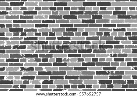 Detailed Hand Drown Texture Of Black And White Old Brick Wall Vector Illustration