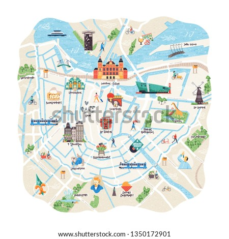 Detailed illustrated map of Amsterdam, the Netherlands. Includes main touristic attractions and places of interest. Vector image.