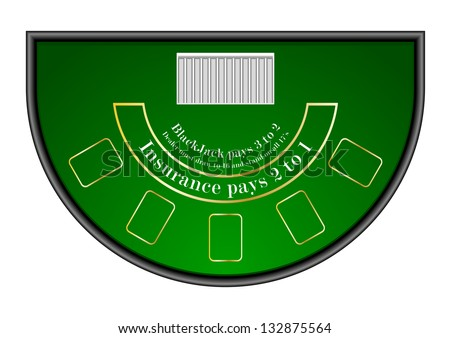 detailed illustration of a black jack gambling table, eps10 vector