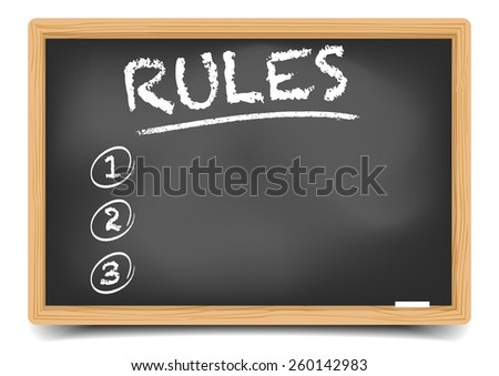 detailed illustration of a blackboard with an empty Rules List, eps10 vector, gradient mesh included