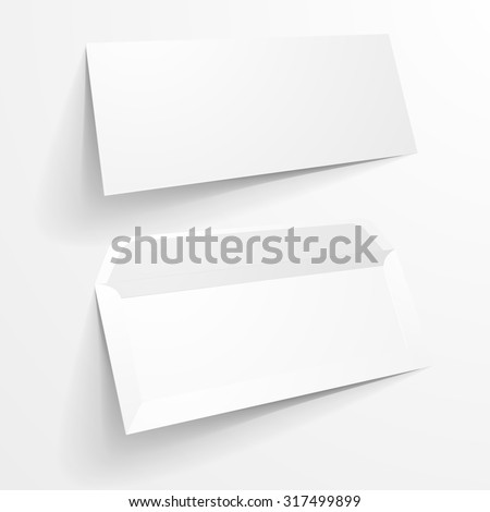 detailed illustration of a blank envelope mockup templates, eps10 vector