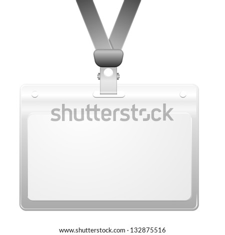 detailed illustration of a blank plastic name tag, eps10 vector