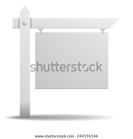 detailed illustration of a blank white real estate sign, eps10 vector