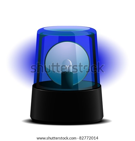detailed illustration of a blue flashing light, symbol for alert and emergency, eps8 vector