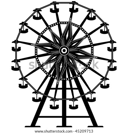 Detailed illustration of a ferris wheel from an amusement park
