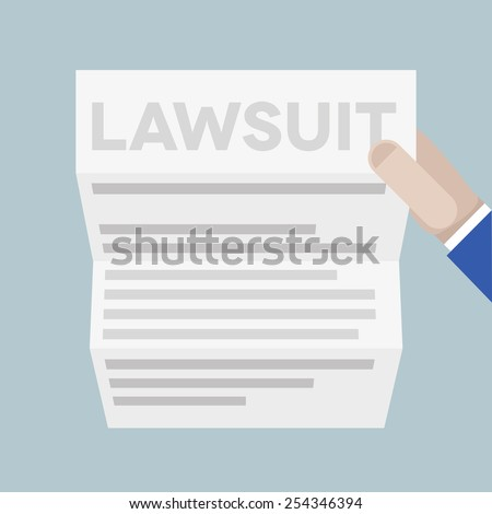 detailed illustration of a hand holding a sheet of paper with lawsuit headline, eps10 vector Foto stock ©
