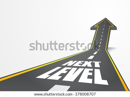 detailed illustration of a highway road going up as an arrow with Next Level text, eps10 vector