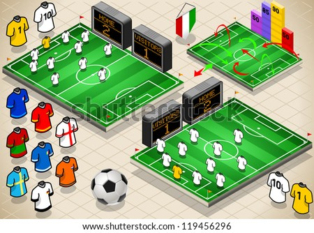 Detailed illustration of a info graphic set of Soccer fields and uniforms in different positions