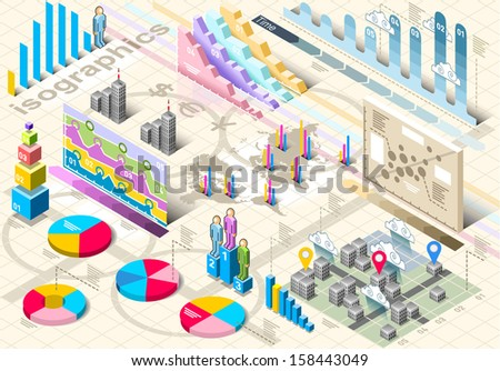 Detailed illustration of a Isometric Infographic Set Elements in Various Colors