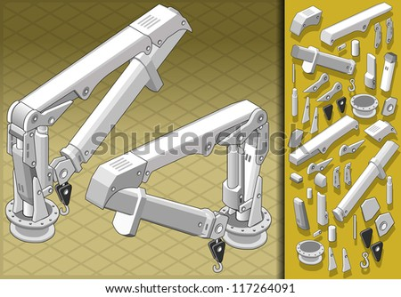 Detailed illustration of a isometric mechanical arm in two positions