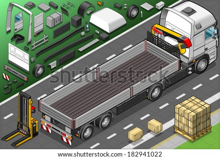 Detailed Illustration of a Isometric Pick Up Truck in Rear View