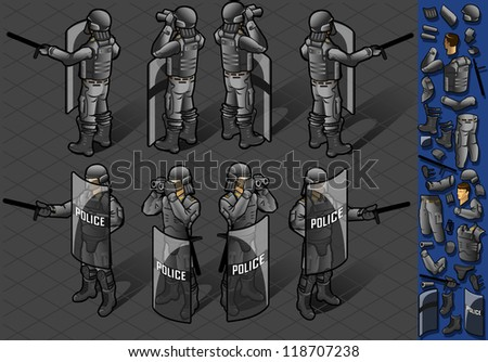 Detailed illustration of a isometric set of eight police mans standing
