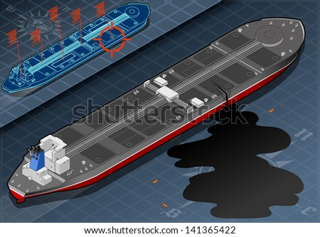 Detailed illustration of a Isometric Ship Tanker Leaky Oil in rear view