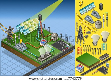 Detailed illustration of a isometric  solar thermal plant in production of energy