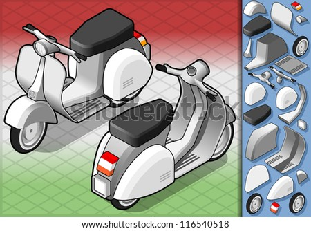 Detailed illustration of a isometric white scooter in two position