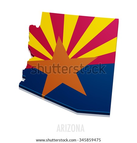 detailed illustration of a map of Arizona with flag, eps10 vector
