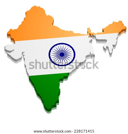 detailed illustration of a map of India with flag, eps10 vector