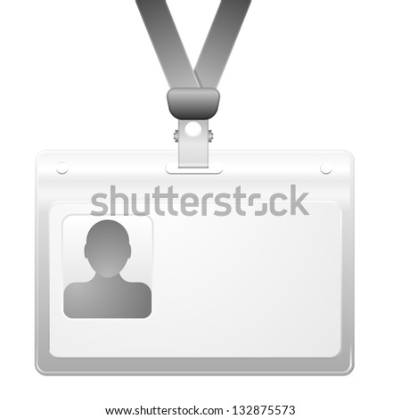detailed illustration of a name badge with photo frame, eps10 vector