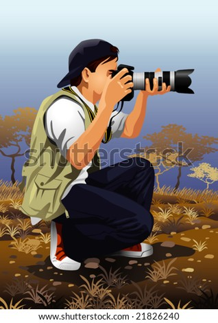 Detailed illustration of a photographer working.