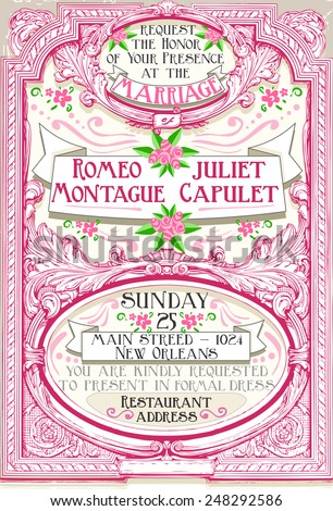 Detailed illustration of a Pink Floral Vintage Wedding Invite