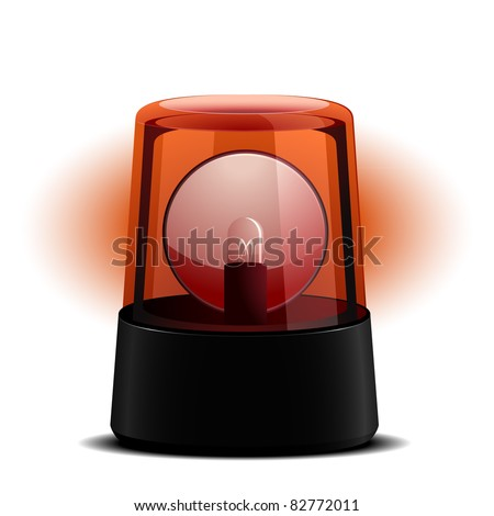 detailed illustration of a red flashing light, symbol for alert and emergency, eps8 vector