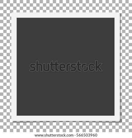 detailed illustration of a retro photo frame. Illustration of Photorealistic Retro Style Photo Frame Isolated on PS Background. Photo frame. White plastic border on a transparent background.