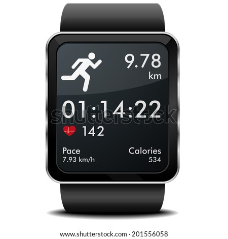 detailed illustration of a smartwarch with fitness app with heart rate monitor distance and timer eps10 vector