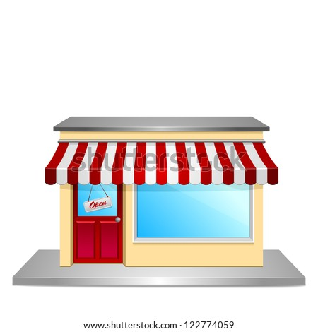 detailed illustration of a store front - stock vector