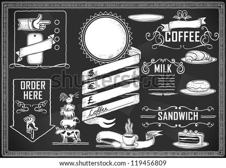 Detailed illustration of a vintage graphic element for bar menu on blackboard - stock vector