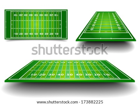detailed illustration of an American Football fields with different perspective, eps10 vector