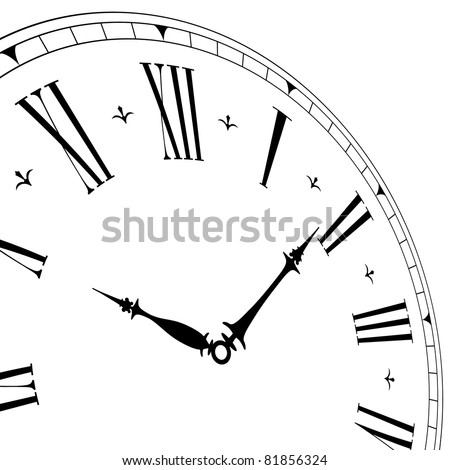 detailed illustration of an old clock face with perspective angle, eps8 vector