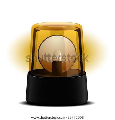 detailed illustration of an orange flashing light, symbol for alert and warning, eps8 vector