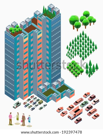 Detailed illustration of building Isometric with plant, car and people