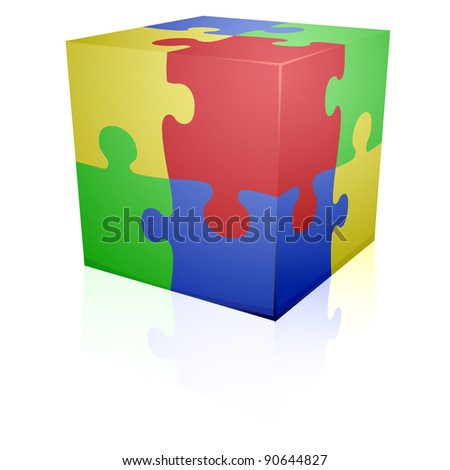 detailed illustration of colorful a jigsaw puzzle cube, eps8 vector - stock vector