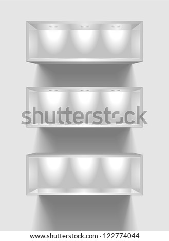 detailed illustration of exhibition shelves with light sources