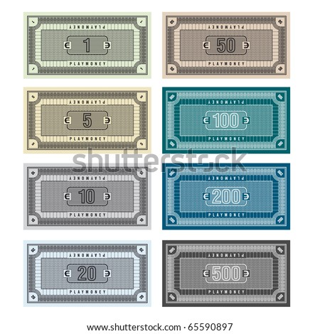 Detailed Illustration of fictive banknotes which can be used as play money - stock vector