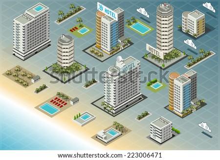 Detailed illustration of Isometric Seaside Buildings