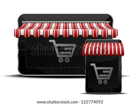 detailed illustration of mobile devices with shopping icons