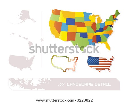 detailed map of usa with states and. stock vector : Detailed illustration of 50 separable US states + a pixel and