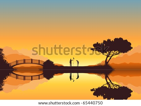 Detailed illustration of two golfers playing on an islet green in the sunset