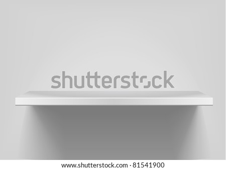 detailed illustration of white shelves with light from the top, eps8 vector