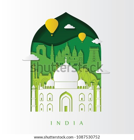 Detailed India skyline. Travel and tourism background. Vector illustration