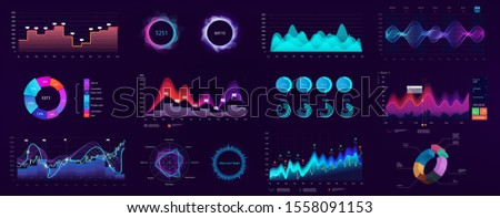 Detailed infographics, technology user interface. UI, UX, GUI elements (Charts, infographics, bars, data panels, diagrams). Admin panel template. Neon graphics in HUD style for visualization data.