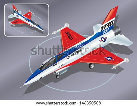Detailed Isometric Vector Illustration of an F-16 Jet Fighter