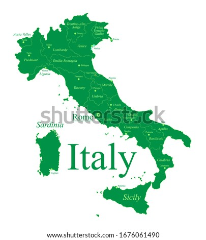 detailed italy map by region