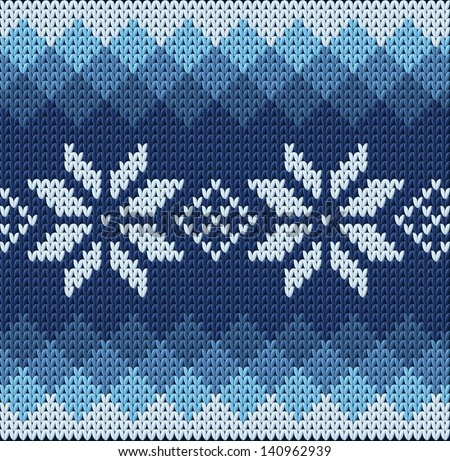 detailed knitted blue jacquard